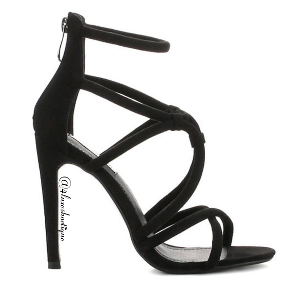 5067db85758 NEW Heels BLACK Criss Cross Sandal